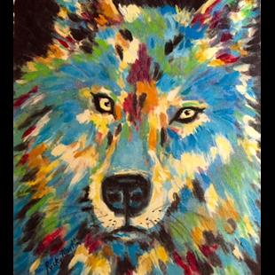 Art: Wolf - acrylic brush stroke enhanced - sold by Artist Ulrike 'Ricky' Martin