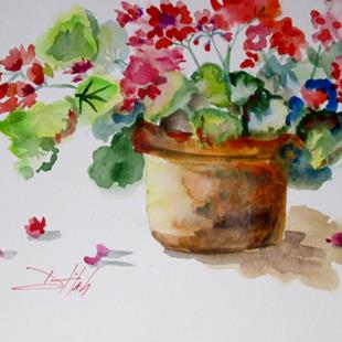 Art: Pot of Geraniums No. 2 by Artist Delilah Smith