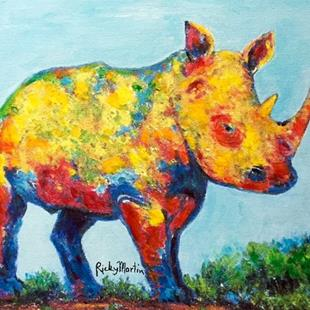 Art: Rhino - brush stroke embellished Giclee - sold by Artist Ulrike 'Ricky' Martin