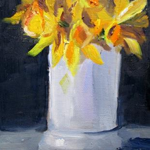 Art: Daffodils in White Vase by Artist Delilah Smith