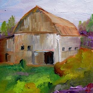 Art: Barn with Purple Flowers by Artist Delilah Smith
