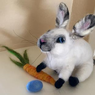 Art: Needle Felted Bunny by Artist Ulrike 'Ricky' Martin