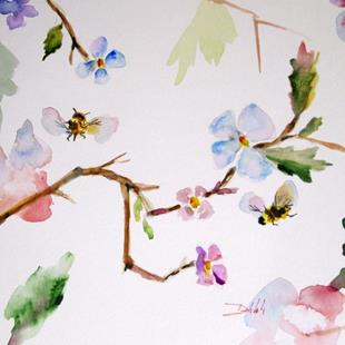 Art: Blossoms Bees-sold by Artist Delilah Smith