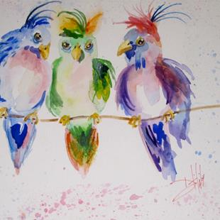 Art: Parakeets by Artist Delilah Smith