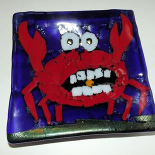 Art: Crab Fused Glass Plate by Artist Paul Lake, Lucky Studios