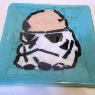 Art: Stormtrooper Star Wars Fused Art Glass Plate by Artist Paul Lake, Lucky Studios