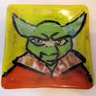 Art: Yoda Star Wars Glass Fused Plate by Artist Paul Lake, Lucky Studios