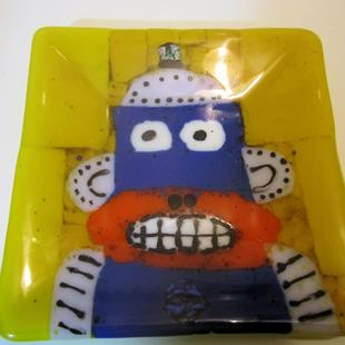 Art: Robot Monkey Fused Glass Plate by Artist Paul Lake, Lucky Studios