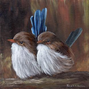 Art: Baby Wrens by Artist Janet M Graham