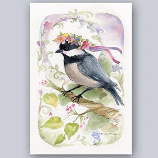 Art: Chickadee with Floral Headwreath by Artist Patricia  Lee Christensen