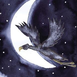 Art: FLYING HIGH moon101 by Artist Dawn Barker