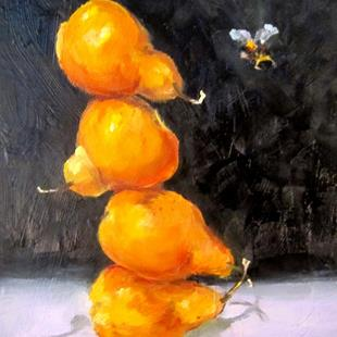 Art: Pear Still LIfe with Bee by Artist Delilah Smith