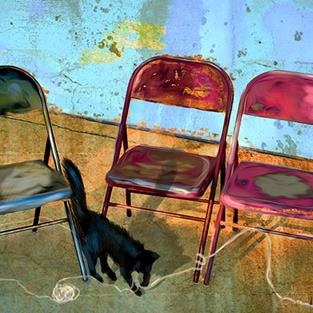 Art: Folding Chairs and a Cat by Artist Alma Lee