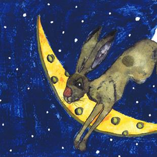 Art: OVER THE MOON! h3302 by Artist Dawn Barker