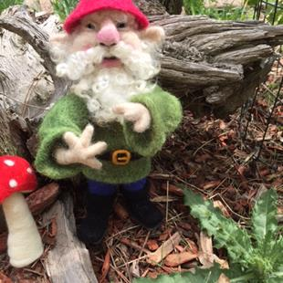 Art: Needle Felted Forest Gnome by Artist Ulrike 'Ricky' Martin