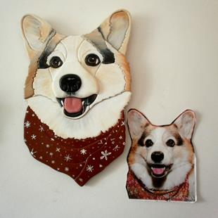 Art: Corgi Original Painted Intarsia art by Artist Gina Stern