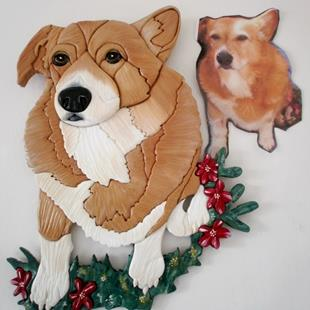 Art: Corgi Dog Painted Original Intarsia Art by Artist Gina Stern