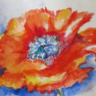 Art: Flaming Poppy by Artist Delilah Smith