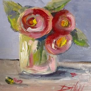 Art: Pink Flowers by Artist Delilah Smith