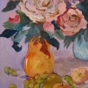 Art: Floral Still Life with Fruit by Artist Delilah Smith