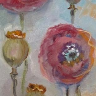 Art: Tall Pink Poppies by Artist Delilah Smith