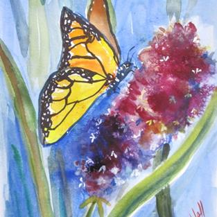 Art: Yellow Butterfly and Flower-sold by Artist Delilah Smith