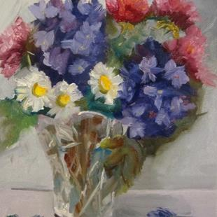 Art: Crystal Vase and Flowers by Artist Delilah Smith