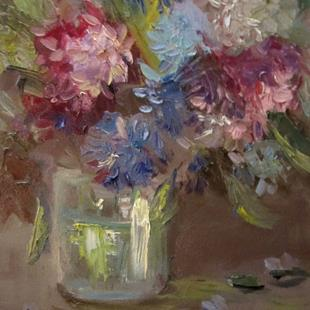 Art: Peonies in a Vase by Artist Delilah Smith