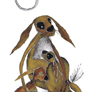 Art: HARE MOTHER & BABY h3308 by Artist Dawn Barker