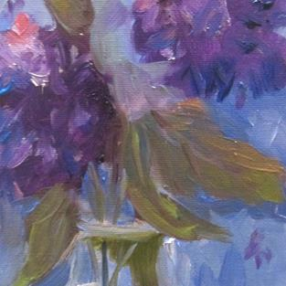 Art: Vase of Purple Flowers by Artist Delilah Smith