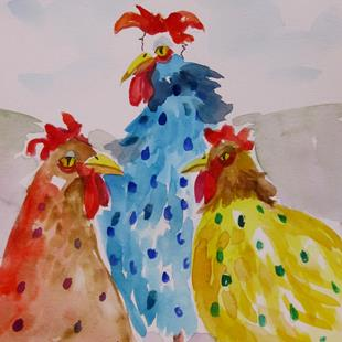 Art: Polka Dot Chickens by Artist Delilah Smith