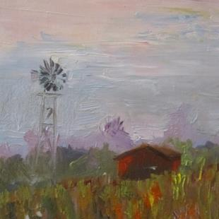 Art: Barn and Windmill by Artist Delilah Smith