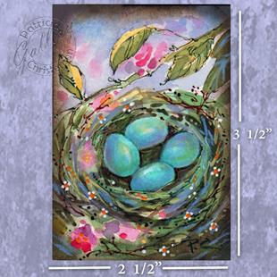Art: Robin Eggs in Nest - ACEO - Sold by Artist Patricia  Lee Christensen