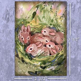 Art: ACEO ~ Bunny Nest by Artist Patricia  Lee Christensen