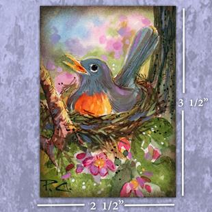 Art: ACEO ~ Mother Robin on Her Nest by Artist Patricia  Lee Christensen