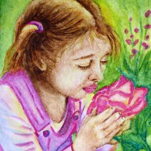 Art: Smelling the Roses  (SOLD) by Artist Monique Morin Matson