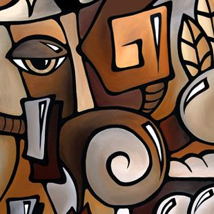 Art: Cubist 141 2436 GW Original Cubist Art OCD by Artist Thomas C. Fedro