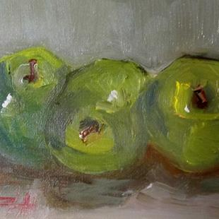 Art: Three Green Apples by Artist Delilah Smith