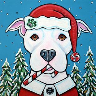 Art: Christmas Snow Pit Bull Terrier 2016 by Artist Melinda Dalke