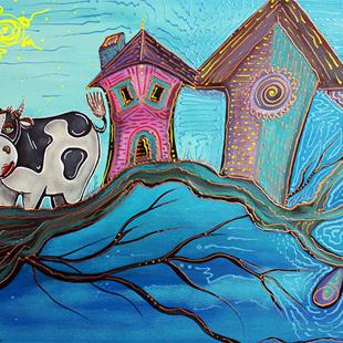 Art: Cow In A Tree by Artist Laura Barbosa