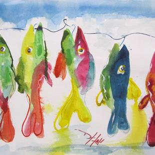 Art: Five Fish on a Hook by Artist Delilah Smith