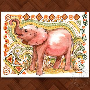 Art: Elephant Baby - ACEO by Artist Patricia  Lee Christensen