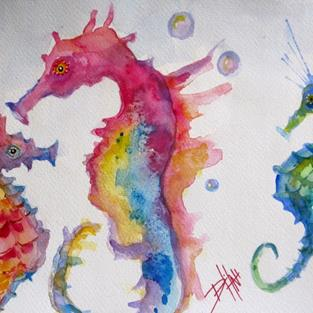 Art: Colorful Seahorse by Artist Delilah Smith