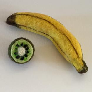 Art: Needle Felted Banana and Kiwi by Artist Ulrike 'Ricky' Martin