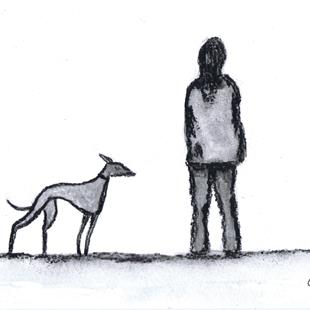 Art: GREYHOUND WALK g914 by Artist Dawn Barker