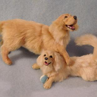 Art: 1/12th Scale Golden Retriever and Pup by Artist Camille Meeker Turner