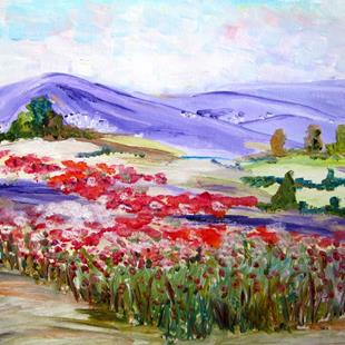 Art: Purple Mountains and Poppy Field by Artist Delilah Smith
