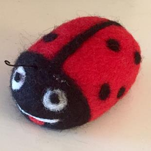 Art: Needle Felted Ladybug by Artist Ulrike 'Ricky' Martin