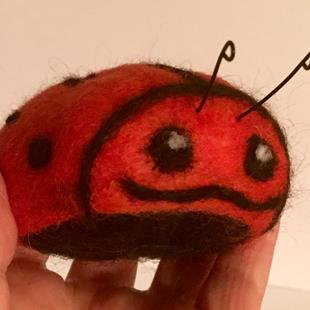 Art: Needle Felted Orange Ladybug by Artist Ulrike 'Ricky' Martin