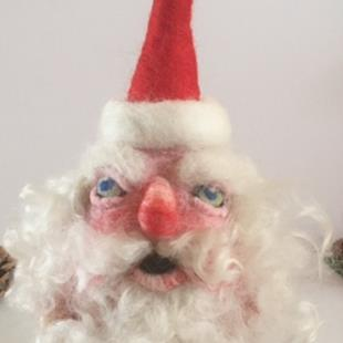 Art: Needle Felted Santa by Artist Ulrike 'Ricky' Martin